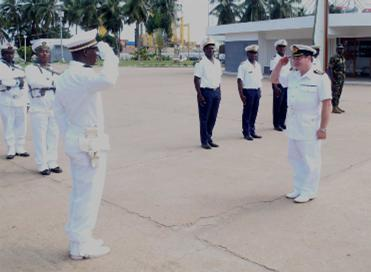 Gold Rover Captain salutes Guard Commander