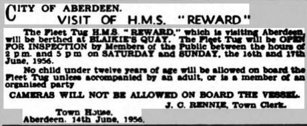 Aberdeen Evening News HMS REWARD 15 6 56