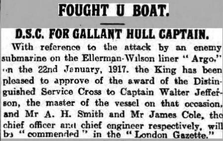 Argo Hull Daily Mail 21 March 1919