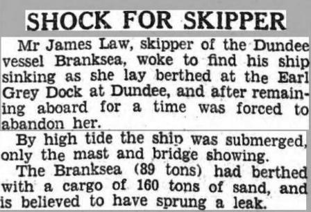 Branksea - Growler -ship sunk