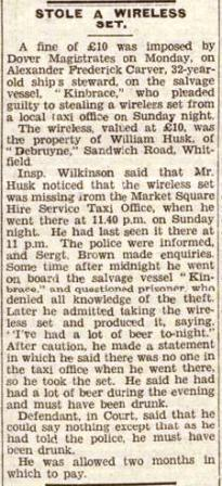 Dover Kinbrace press cutting 31 Jan 1949