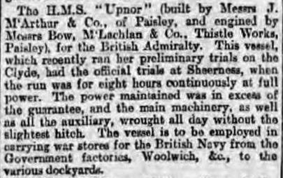 Glasgow Herald  28-6-1899 Upnor