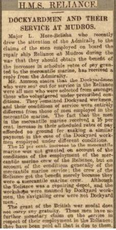 Press Cutting 10.10.1924 western Mor News RELIANCE Dockyard MENs Pay