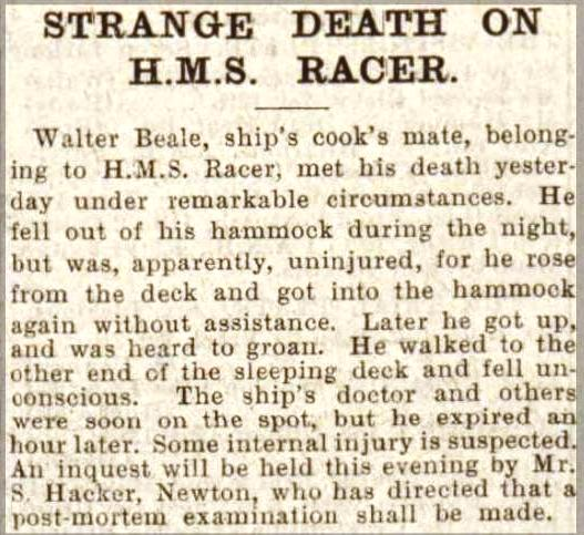 Press Cutting 2 July 1902 HMS RACER