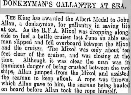 Press Cutting Mixol Albert Medal 1918