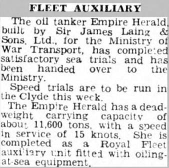 Press Cutting Sunder Daily Echo - 12 Mar 46 Empire Herald