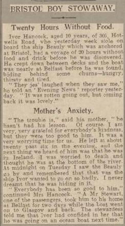 Stowaway - 4-7-1928 Press Cutting west daily news