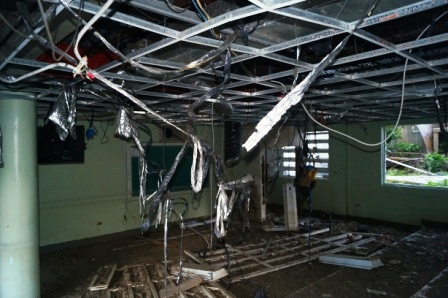 damage to the classrooms at BVI post Hurricane