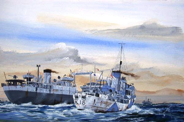 HMS Campanula RASing with a Wave Class Tanker