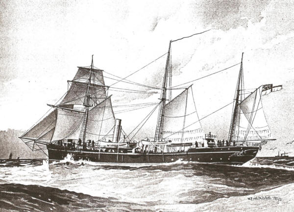 HMS Thrush in 1892 by W Fred Mitchell before entering RFA Service